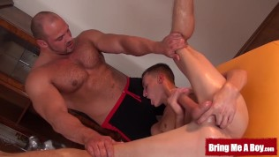 Muscular daddy helps young Marek cum with kinky massage